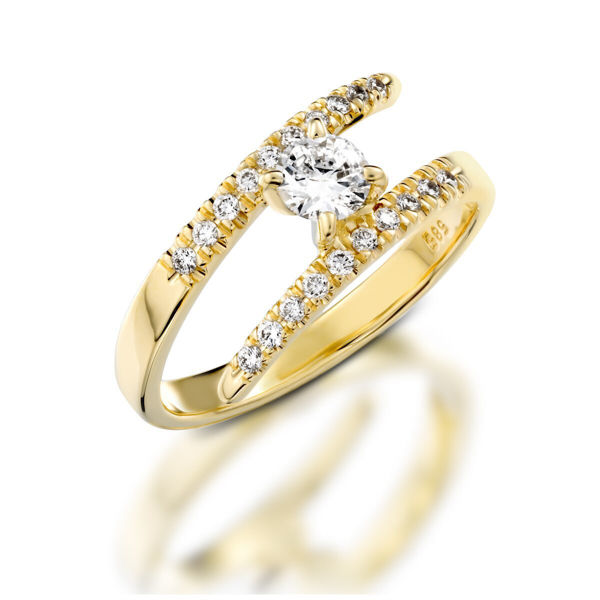 תמונה של טבעת אירוסין מעוצבת - שיבוץ צד