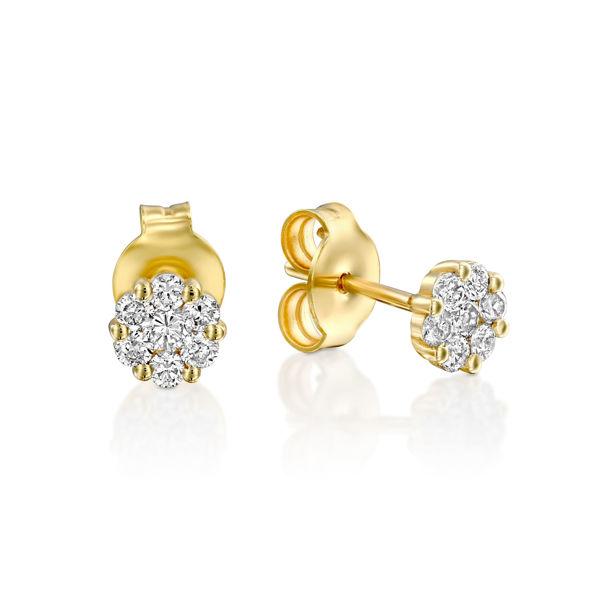 תמונה של זוג עגילים צמודים - עיצוב פרח יהלומים